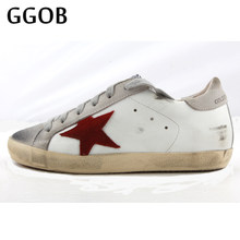 GGOB 2018 New Flat shoes Canvas Walking Do old Dirty Vintage Genuine Leather  Woman Brand Casual Shoes Cowhide Lace-up Handmade 6f50c1d4faae
