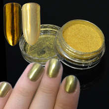 1g Holographic Mirror Gold Nail Glitter Powder Gradient Fine Chrome Pigment Nail Art Powder Manicure Dust Makeup Tool CH#2