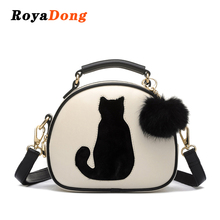 RoyaDong 2017 Women Shoulder Bags Crossbody Bag For Women Handbag PU Leather Full Moon Candy Color Cute Cat With Fur Ball(China)
