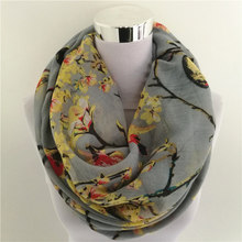 New Magpie Bird Print viscose All Match Ipek Esarp Women loop Scarves hot sale flower infinity Scarf spring Long Wraps(China)