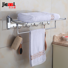 Bath Towel Rack Active Bath Towel Rack Stainless Steel Towel Rack Double Thickening Folding Eight Hook(China)
