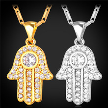 Hot Hamsa Hand Necklace Gold Color Cubic Zirconia Pendants & Necklaces Women/Men Link Chain Amulet Hand of Fatima Jewelry P1664