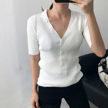 Pengpious restoring ancient temperament slim fit elastic large button deep v-neck short sleeves sweater lady(China)
