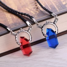 Anime Cosplay Lovers necklace DMC Devil May Cry Dante Stone Best Friends Pendant Wholesale Red Blue Jewelry accessories