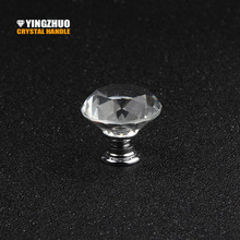 New 10PCS 30mm Diamond Shape Design Crystal Glass Knobs Cupboard Drawer Pull Kitchen Cabinet Door Wardrobe Handles Hardware