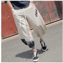 2017   Big yards  National wind flax wide-legged pants Men's color  7 minutes of  Loose Chinese wind slacks