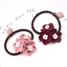 M MISM Summer Women Hair Accessories Fashion Wool Flower Elastic Hair Bands Scrunchy Floral Hair Ponytail Rope Bands(China)