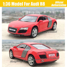 1:36 Scale Diecast Alloy Metal Sports Car Model For Audi R8 Collection Model Pull Back Toys Car - Red