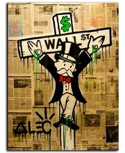 Alec Monopoly Graffiti Art Wall Pictures For Living Room Home Decoration Arts Poster Print On Canvas Canvas Painting unframed(China)
