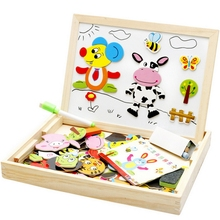 Hot New Multifunctional Wooden Toys Educational Magnetic Puzzle Farm Jungle Animal Children Kids Jigsaw Baby Drawing Easel Board(China)