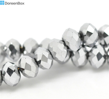Doreen Box hot- Silver Tone Crystal Glass Faceted Rondelle Beads 6mm, Approx 300Pcs (B14947)(China)