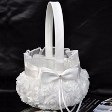 Top Sell Wedding Ceremony Party Love Case Satin Bowknot & Rose Flower Girl Basket Wedding gift  BS