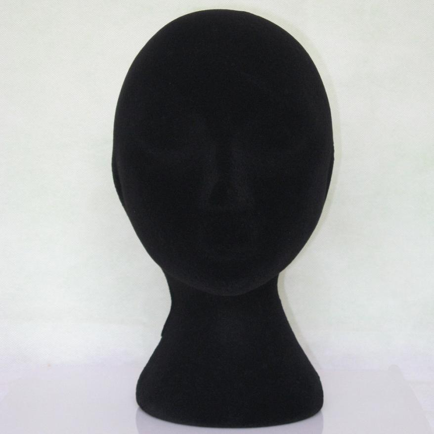 Training Mannequin 2017 cosplay Female Styrofoam Foam Flocking Head Model Wig Glasses Display Stand Black drop ship 17aug29