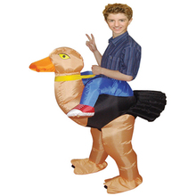 Newest 1.2-1.5m Kids Party Ostrich Halloween Costume Funny Inflatable Unique Kids Costumes Polyester Ostrich Costume For Kids(China)
