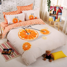 Cotton Set Bedding Orange Bicycle Bed duvet cover linens 4-pcs Home Breathable Smooth  Queen size bedding sets