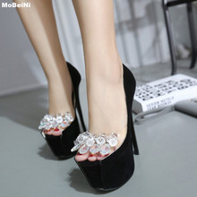 New Brand Peep Toe Rhinestone High Heels Shoes Woman Pumps 16cm Glass Wedding Shoes Women Platform Female Summer Shoes