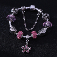 HOMOD Rhinestone European Beads Pink Flower Charm Bracelets Fashion Brand Bracelets Bangles For Women Jewelry(China)