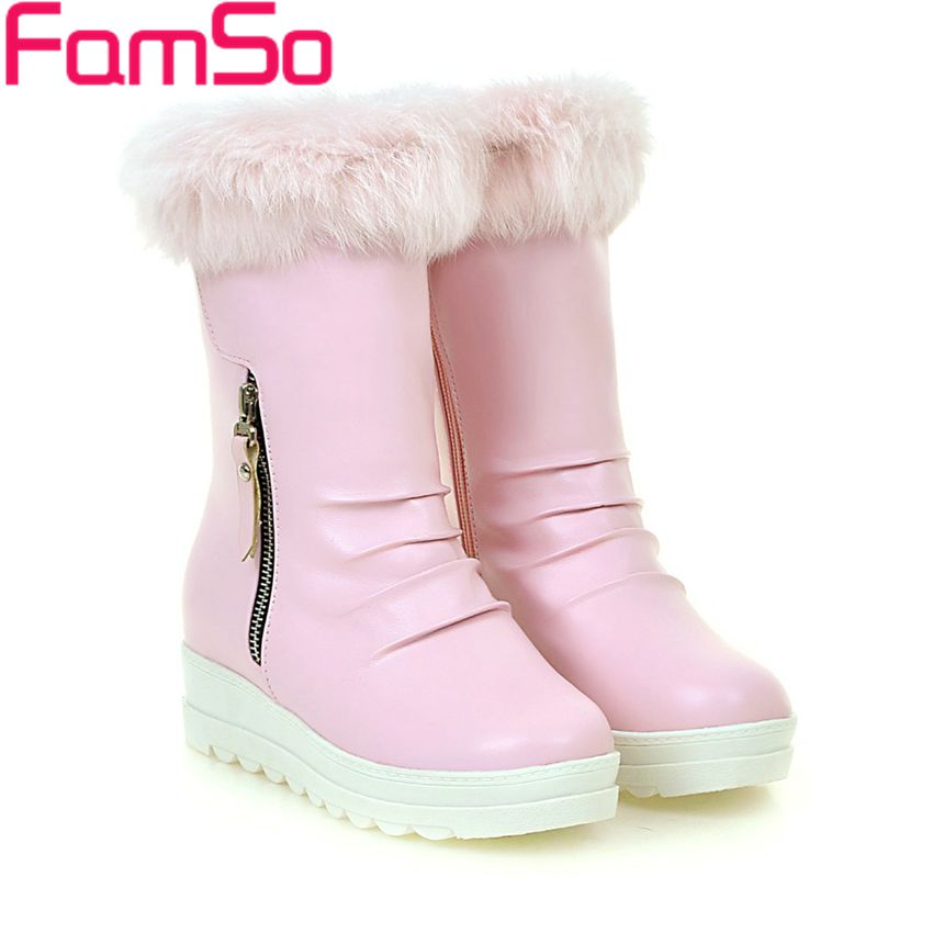 Big Size 34-43 2017 new Fashion Women Boots Black Pink Winter Riding Boots Russia Waterproof Warm Fur Snow Boots ZWB4307<br>