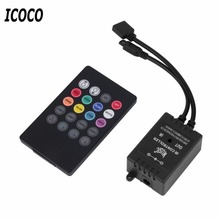 ICOCO LED Music IR Controller 12V 2A 20 Keys IR Remote Controllers for 3528 5050 RGB LED Strip Lights Mini Controller(China)