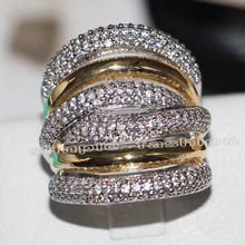Fashion Jewelry Classic 236pcs Gem 5A Zircon stone 14KT White Yellow Gold Filled Engagement Wedding Band Ring Set Sz 5-11