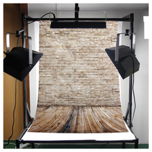 CES-3x5FT Brick Wall Photography Backdrop Photo Wooden Floor Studio Background Props Light Grey