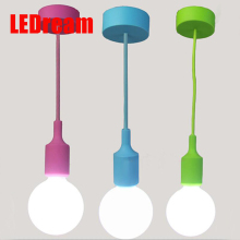 Colorful Silicone Pendant Lights E27 Holder AC90-260V Modern Fashion DIY Design Creative Pendant Lamps 100cm