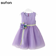 2017 New Girls tutu dress+belt flowers gauze children princess vest dress lace kids clothes Free ship pink purple party gift