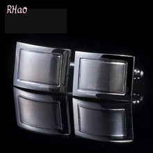 RHao Fashion Men Cufflinks High Quality man Metal Square Cuff links for men office business jewelry wedding party cufflinks gift(China)