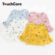 Touchcare Lotus Leaf Sleeve Baby Girl T Shirts Solid White Pink Yellow Colors Dots T-shirt Autumn Cotton Baby Girl Clothes(China)