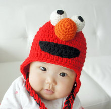 free shipping,Elmo Sesame Street Crochet baby Hat Beanie 100% Cotton New(China)
