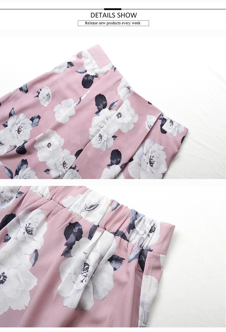 2018 Women Pants Beach Floral Print High Waist Plus Size Loose Chiffon Casual Wide Leg Pants Pink Split Sexy Women Trousers Sale 13