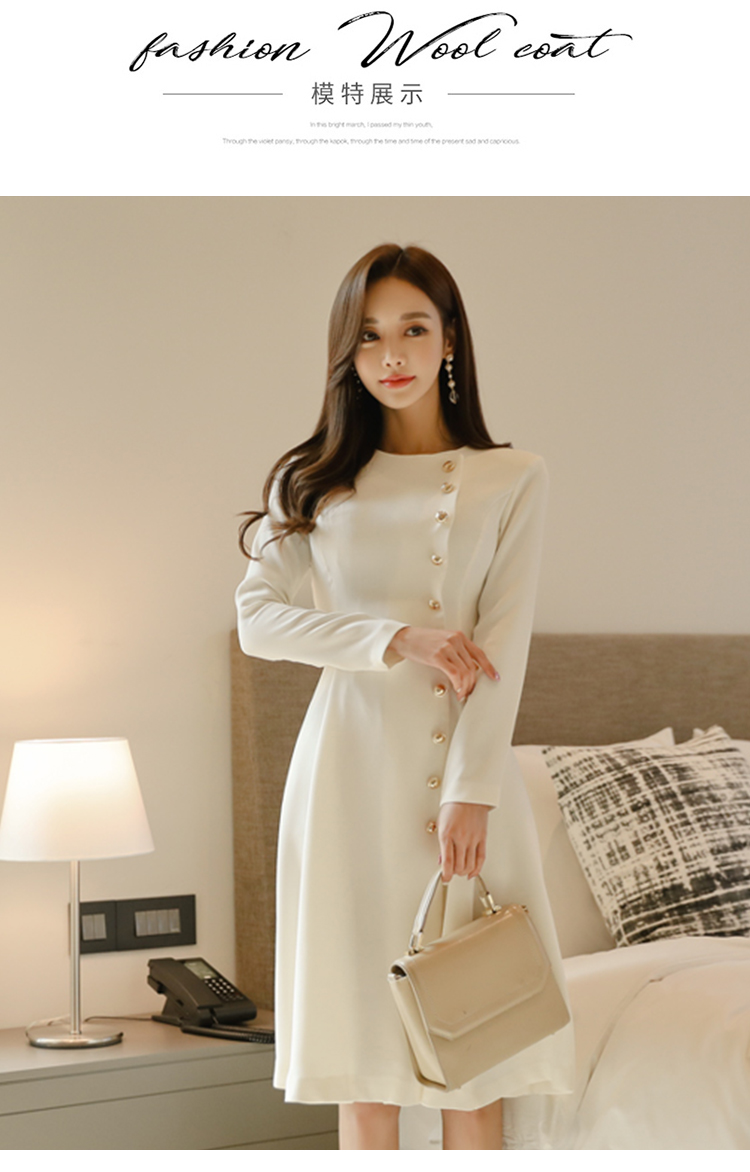 Elegant Dress Women Casual Long Sleeve Dress Office Lady Runway Designers High Fashion Dress 2