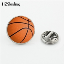 2017 New Design Basketball Brooch Pins Silver Lapel Pins Glass Dome Custom Sports Events Jewelry for Men Shirt Accessories