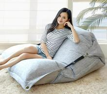 Cover only No Filler- linen fabric indoor bean bag chair, living room beanbag sofa lounger, relax beanbag cushion sack(China)