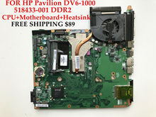 High quality Laptop motherboard+CPU+Heatsink for HP Pavilion DV6-1000 518433-001 511863-001 GM45 Fully tested&Working perfect