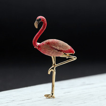 Newest Red Flamingo Birds Brooches For Men Jewelry Enamel Statement Punk Brooches Bouquet Animal Brooch Scarf Buckle Cloth Pins(China)