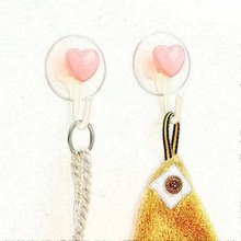 2 Pcs/Set Creative Home Lovely Strong Sticky Hanger Hook Kitchen Bathroom Refrigerator After Door Love Heart Sucker Hook