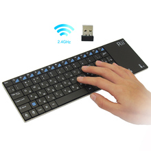 Genuine Rii i12plus ultra slim 2.4G RF mini wireless Russian Keyboard with touchpad mouse for PC HTPC IPTV Android Smart TV Box(China)