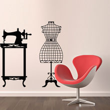 Wall Decals Sewing Machine Mannequin Decal Vinyl Sticker Workshop Decor