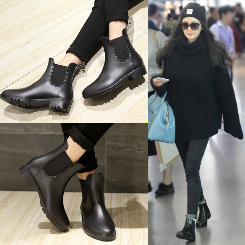 Rain Boots 2017 Waterproof Fashion Jelly Women Ankle Rubber Boot Elastic Band Solid Color Rainday Women Shoes<br><br>Aliexpress