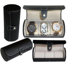 Luxury Black PU leather Roll Travel Watch Display and Storage Case Box For Wrist Watch Carrying Organizer 3 Grids with Pillows