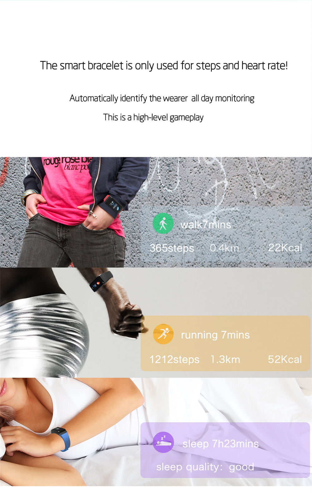 EXRIZU F1S Smart Wristband Blood Pressure Heart Rate Monitor Smart Bracelet Women Men Sport Band Fitness Tracker for Android iOS 3