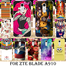 Painted Soft TPU Silicone Phone Cases For ZTE Blade A910 A 910 BA910 BA910t 5.5 inch Cases shell hood covers Gel Phone Bag Shell