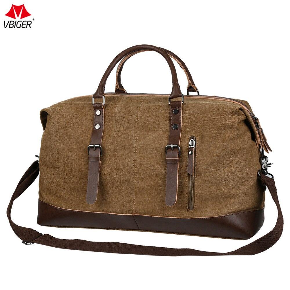 Vbiger Unisex Canvas Travel Bag Large-capacity Duffel Travel Shoulder Bag Men Carry on Luggage Bags Tote Large Bag Overnight<br>