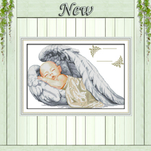 Little angel birth certificate,sleeping baby,pattern print canvas DMC 14CT 11CT DMS Cross Stitch Embroidery Needlework kits Sets(China)