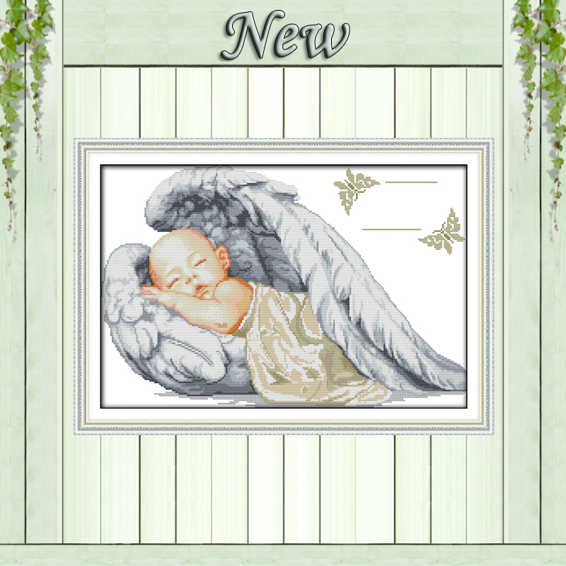 Little angel birth certificate,sleeping baby,pattern print canvas DMC 14CT 11CT DMS Cross Stitch Embroidery Needlework kits Sets(China (Mainland))