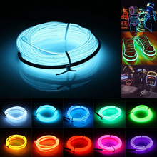 Hot Sale 10 Colors Flexible For 3M EL Wire Rope Tube Neon Cold Light Glow Party Car Strip Light Decoration With 12V Inverter
