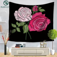 Red Rose Print Tapestry Wall Hanging Home Tapestry Wall Beach Towel Blanket Home Decor 150*130cm/150*200cm(China)
