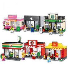 City Series Mini Street Model Store Shop with Mini Toy Store Shop Cartoon Figures Apple Store McDonald`s Building Block Toys