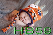 free shipping, kids orange hats caps ,100% cotton handmade crochet monster hat baby animal earflap hats